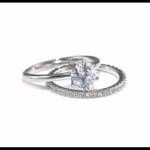 Elegant 2pcs/set White Sapphire Engagement Ring